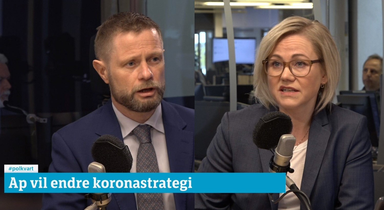 Høyres Bent Høie mot Arbeiderpartiets helsepolitiske talsperson Ingvild Kjerkol fotografert i studioet til NRK