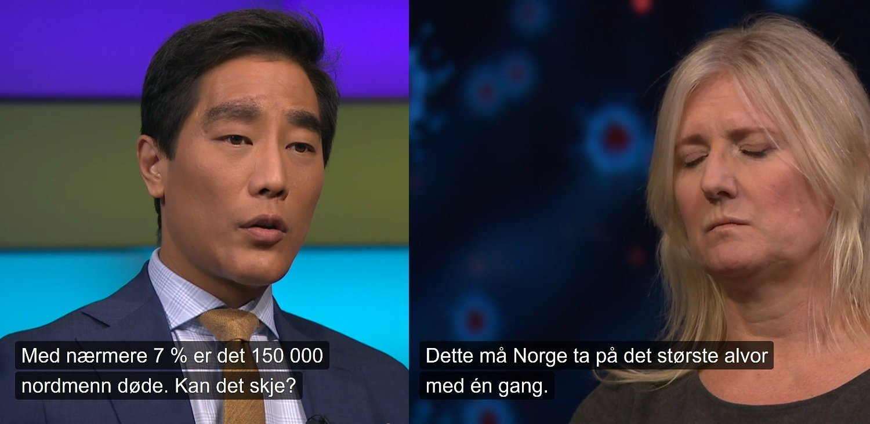 SKREKKSCENARIET: NRK-reporter Fredrik Solvang spør om vi styrer mot 150.000 døde, og NRK-eksperten gjør ikke noe for å avvise det scenariet.