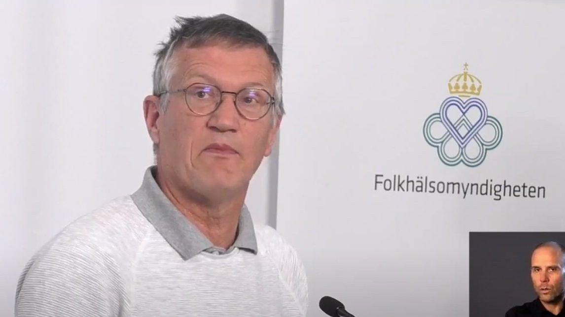Statsepidemiolog Anders Tegnell på pressekonferansen torsdag.