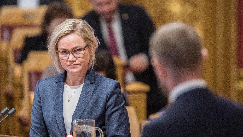 Oslo 20200129. Ingvild Kjerkol stiller spørsmål til helseminister Bent Høie under stortingets muntlige spørretime onsdag.