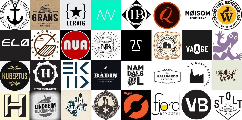 Samling av 32 bryggerilogoer