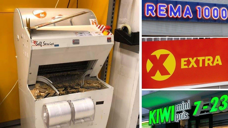 BRØDSKJÆREMASKINEN TILBAKE: Nå kan du igjen skjære opp brødet ditt i dagligvarebutikkene. Brødskjæremaskinen som er innfelt i bildet ble fotografert på en Extra-butikk i Fredrikstad denne uken.