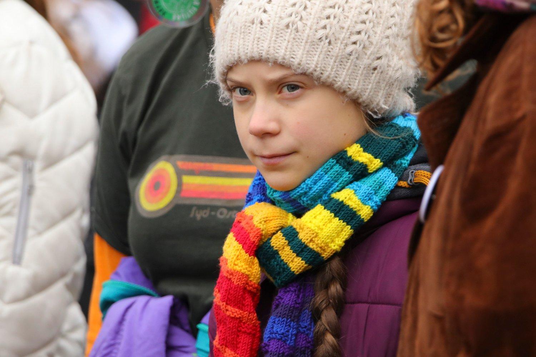 Svenske Greta Thunberg under en klimamarsj i Brussel 6. mars.