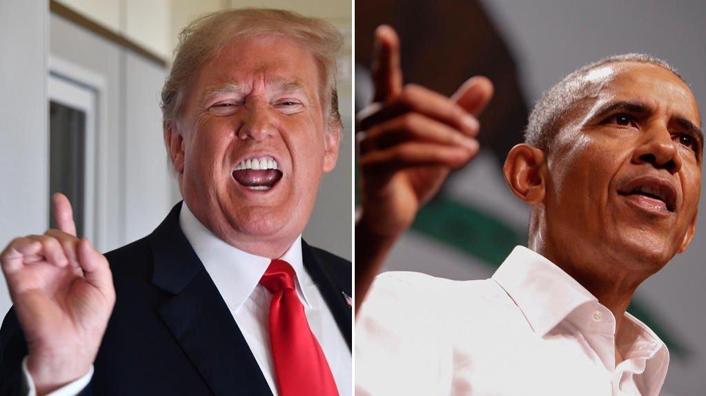 Donald Trump og Barack Obama.