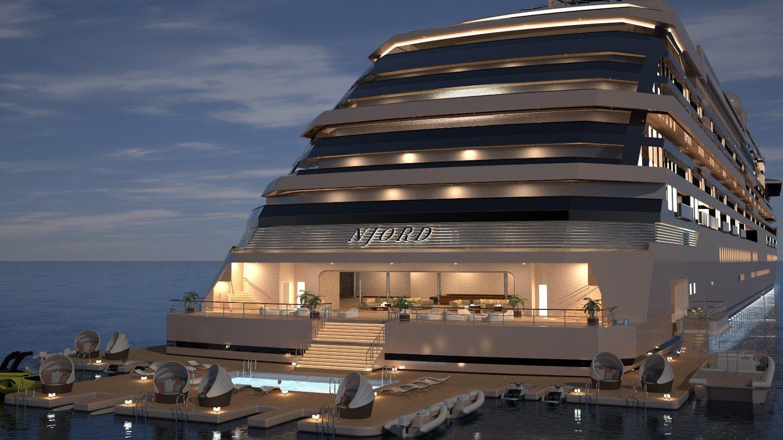 MONSTERYACHT: Denne yachten, M/Y NJORD., skal inneholde 118 boliger. Illustrasjon: Ocean Residences Development Ltd.