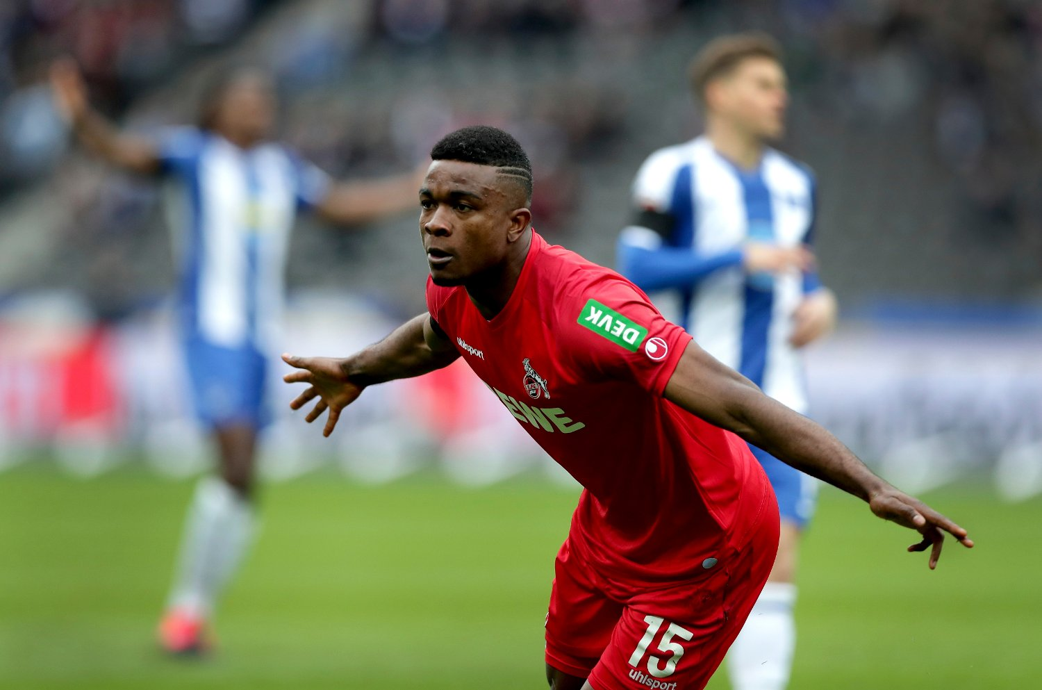 Germany Bundesliga Soccer Cologne's Jhon Cordoba, front, celebrates after scoring the opening goal during the German Bundesliga soccer match between Hertha BSC Berlin and 1.FC Cologne in Berlin, Germany, Saturday, Feb. 22, 2020.