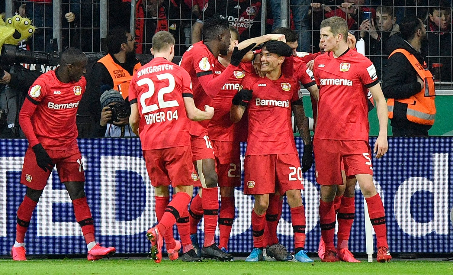 Germany Soccer Cup Leverkusen's Charles Aranguiz is celebrated after scoring his side's second goal during the German soccer cup, DFB Pokal, quarter-final match between Bayer Leverkusen and Union Berlin in Leverkusen, Germany, Wednesday, March 4, 2020.