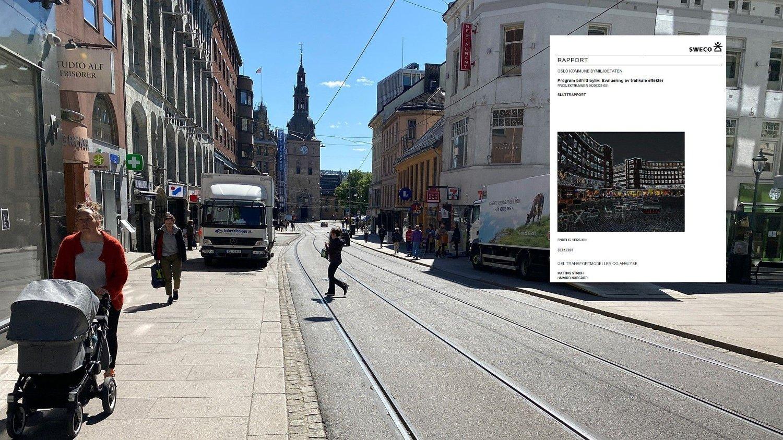 Forbud mot privatbiler i Grensen, som binder sentrum øst og vest sammen, er et av de viktigste grepene i Bilfritt byliv. Men ifølge en ny rapport har en ikke klart å dokumentere at det har blitt mer syklister og fotgjengere i byen som følge av prosjektet.