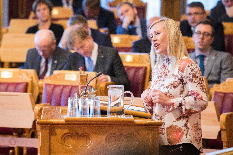 Arbeiderpartiets justispolitiske talsperson Lene Vågslig på talerstolen i Stortinget.