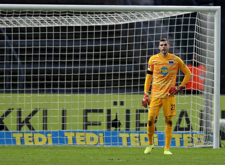 STARTER: Rune Jarstein i mål for Hertha Berlin.