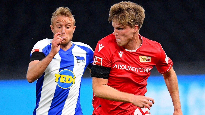 NORDMENN PÅ BANEN: Per Ciljan Skjelbred var én av tre nordmenn som fikk spilletid i fredagens oppgjør i Bundesliga mellom Hertha Berlin og Union Berlin.