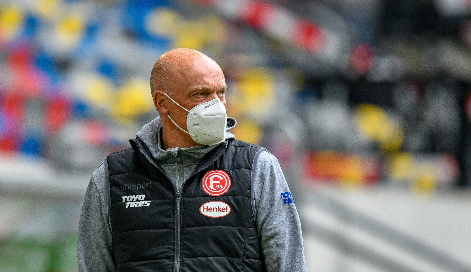 Fortuna Duesseldorf's German head coach Uwe Roesler is seen prior to the Bundesliga soccer match between Duesseldorf and Paderborn in the Merkur Spiel-Arena, Duesseldorf, Germany, Saturday, May 16, 2020. The German Bundesliga becomes the world's first major soccer league to resume after a two-month suspension because of the coronavirus pandemic.