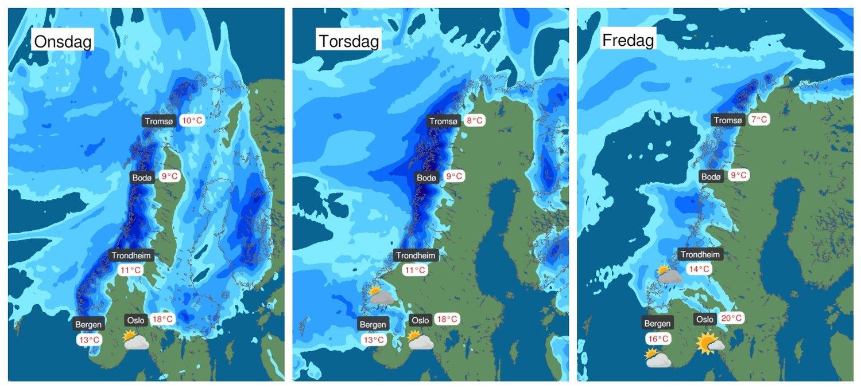 Nedbør i vest og nord venter før det varslede høytrykket gjør sitt inntog i pinsehelga.