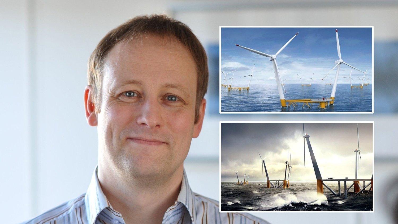 LIKHET: Norske Force Technology, her ved visepresident Håkon Hallem, stod klare med banebrytende havvind-teknologi i 2008 - men norske politikere og investorer var lunkne. Nå vil svenske Hexicon eksportere en liknende teknologi til Sør-Afrika. De innfelte bildene er illustrasjoner.