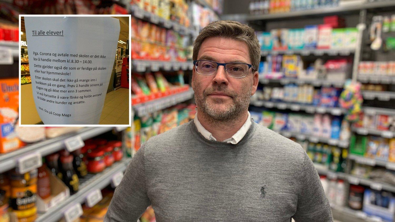 SMITTETILTAK: Kommunikasjonssjef Harald Kristiansen i Coop Norge forteller at de måtte ta grep for å hindre smittespredning da 100 elever samlet seg ved Coop Mega Vinderen i Oslo.