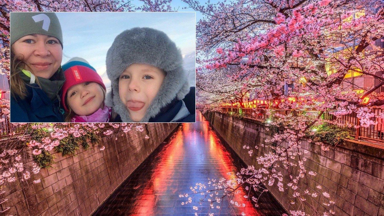 BLE IKKE NOE AV: Magdalena Borsch og barna Samantha og Liam gledet seg lenge til å se kirsebærblomstringen i Tokyo på årets påskeferie. Borsch fikk beskjed om ikke å ringe mer, da hun purret på refusjonen fra SAS for flybillettene til 40.000 kroner.
