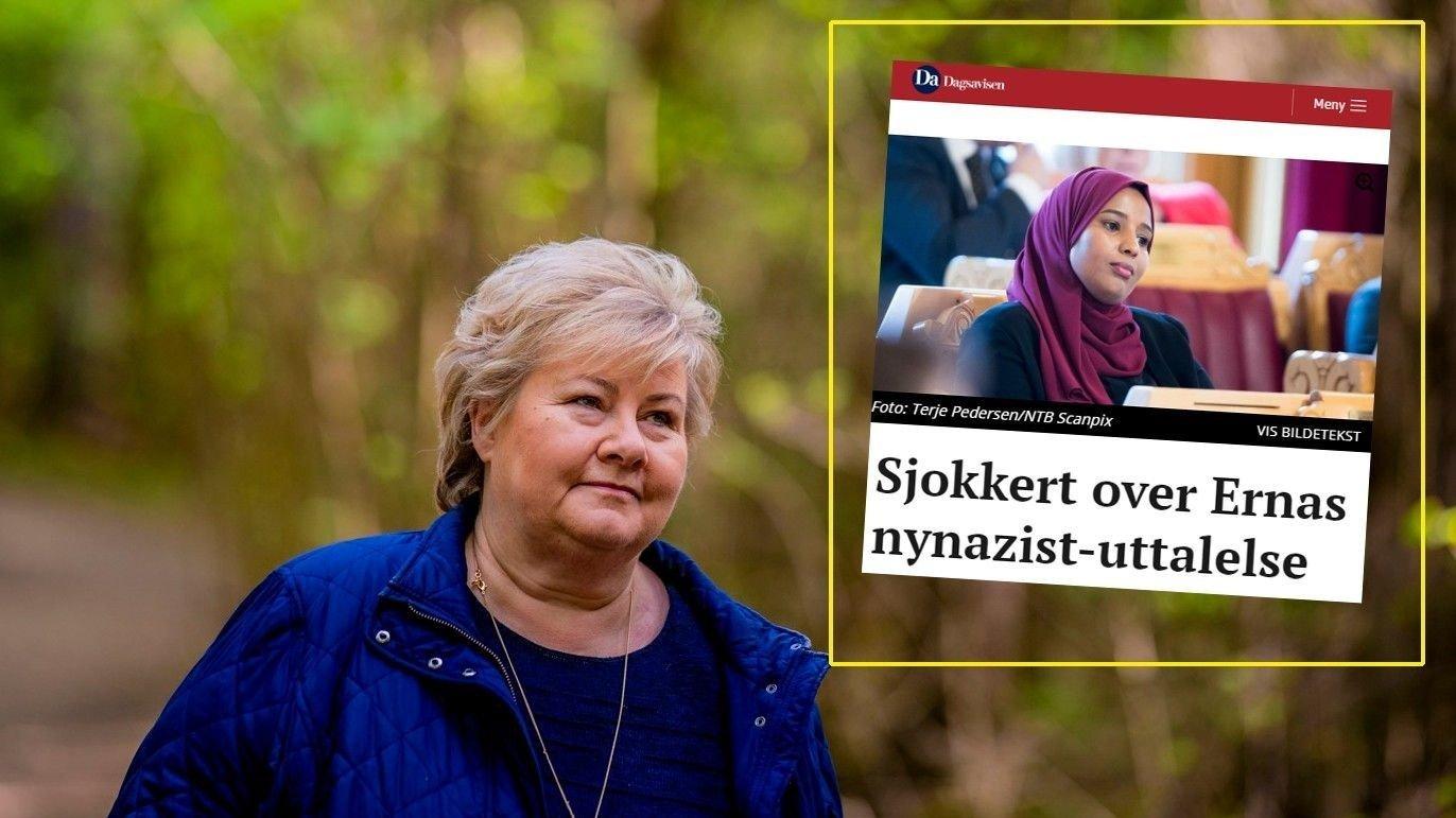 Statsminister Erna Solberg med et klipp fra Dagsavisen innfeldt.
