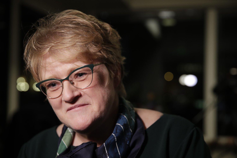 Oslo 20200305. Trine Skei Grande møter pressen på Venstres hus torsdag kveld.