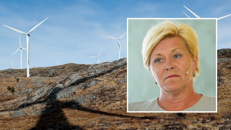 TOMMEL OPP: Siv Jensen og Frps forslag om vindkraft faller i god jord hos både miljøbevegelsen og vindkraftens egen interesseorganisasjon.
