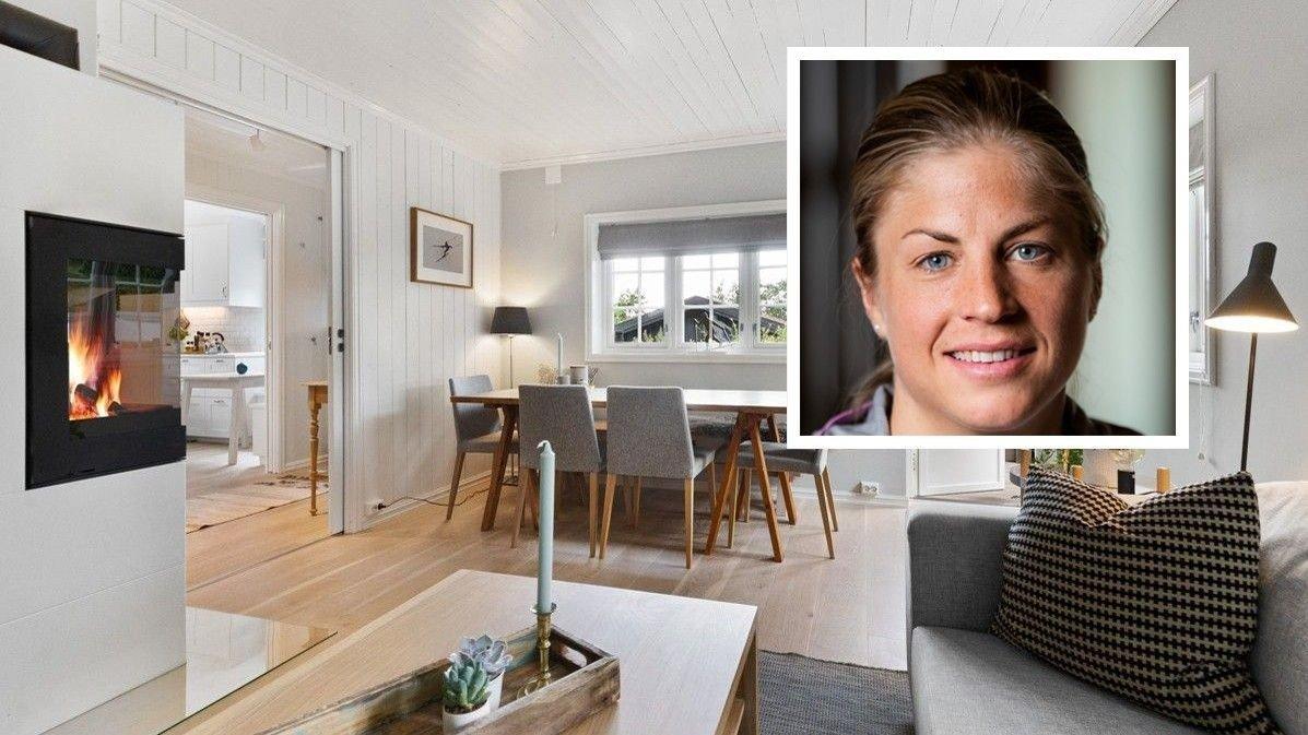 FLYTTER: Astrid Uhrenholdt Jacobsen flytter fra denne boligen på Slemdal i Oslo, og nå ligger den ute til salgs.