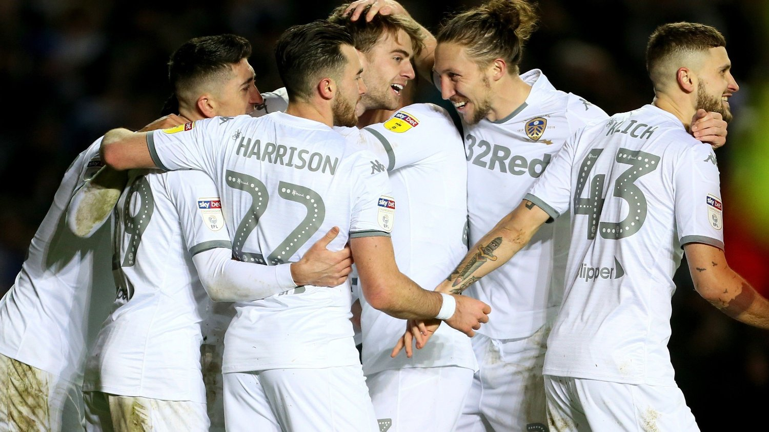 Leeds United's Patrick Bamford celebrates scoring his side's third goal of the game during the Sky Bet Championship match at Elland Road, Leeds.