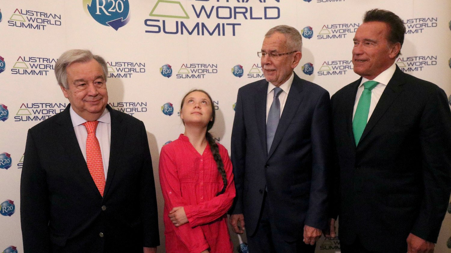 EU Climate Greta Thunberg FILE - In this Tuesday, May 28, 2019 file photo United Nations Secretary-General Antonio Guterres, Swedish climate activist Greta Thunberg, Austrian President Alexander Van der Bellen and former California Gov. Arnold Schwarzenegger, from left, pose before the R20 Austrian world summit at Hofburg palace in Vienna, Austria. In a wide-ranging monologue on Swedish public radio, teenage climate activist Greta Thunberg recounts how world leaders queued up to have their picture taken with her even as they shied away from acknowledging the grim scientific fact that time is running out to curb global warming.