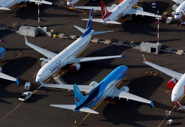 Flere Boeing 737 Max-fly parkert på Boeings oppsamlingsplass i Seattle.