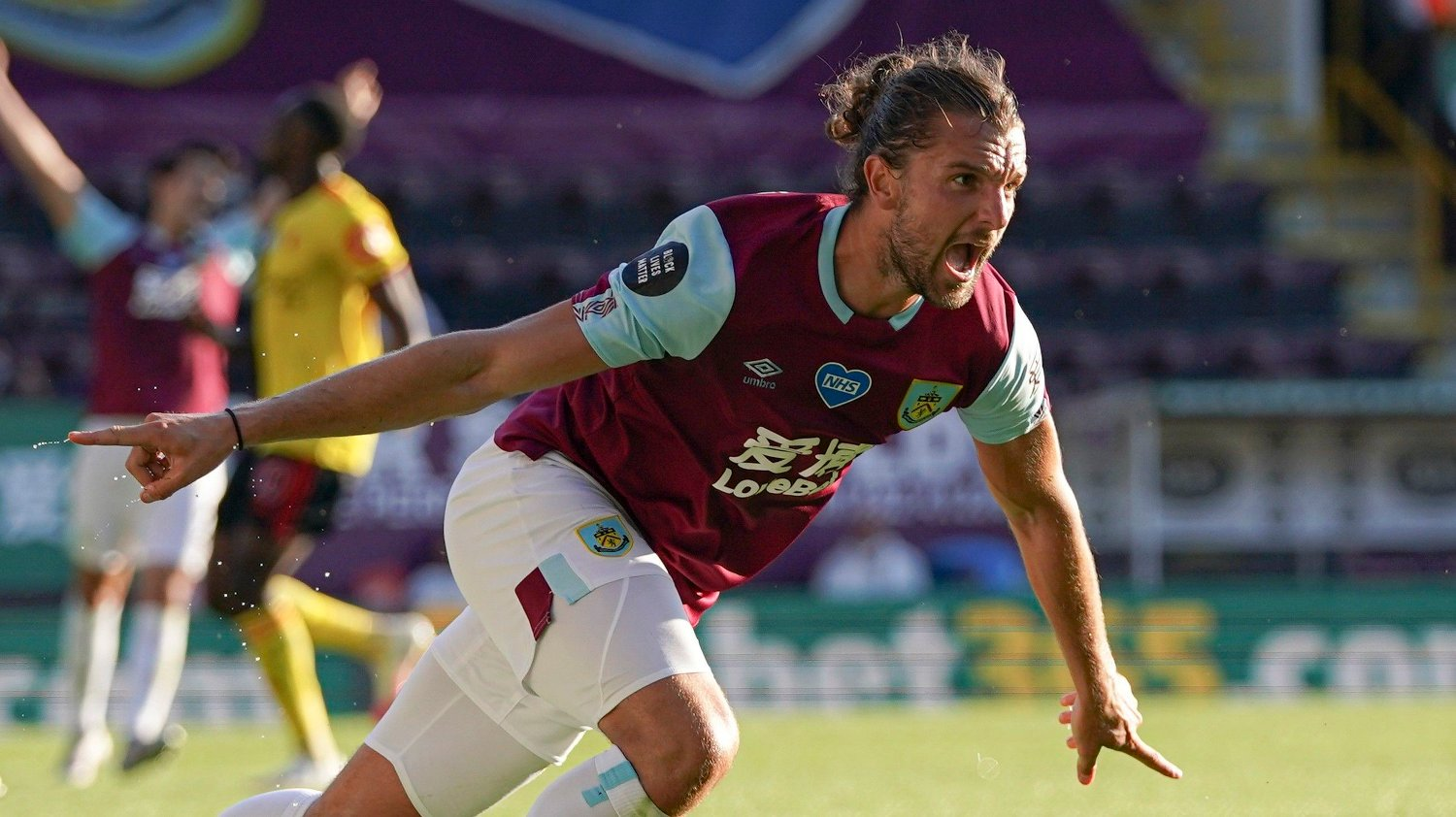 Burnley's Jay Rodriguez celebrates after scoring his side's first goal during the English Premier League soccer match between Burnley and Watford at the Turf Moor Stadium in Burnley, Thursday, June 25, 2020.