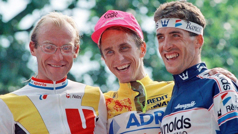I FOKUS: Laurent Fignon, Greg LeMond og Pedro Delgado glemmer nok aldri touren i 89.