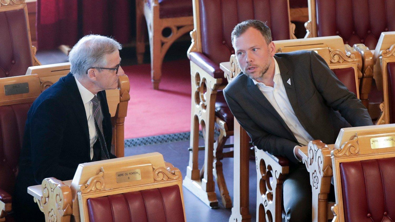 Ap leder Jonas Gahr Støre og SV-leder Audun Lysbakken