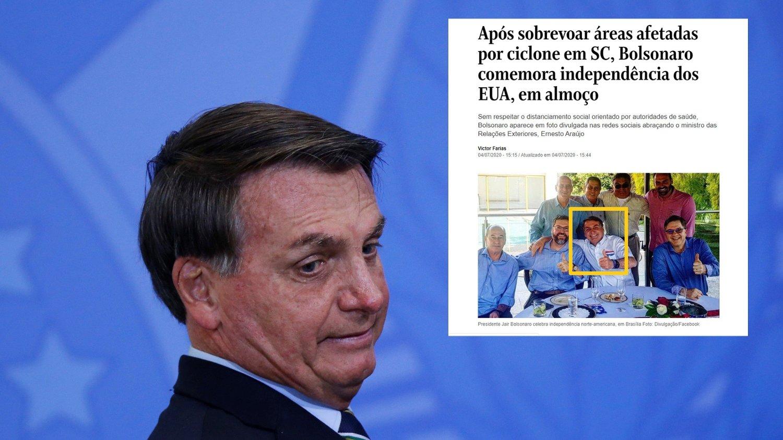 Brasils president Jair Bolsonaro feiret USAs nasjonaldag uten munnbind, med armen rundt sine festdeltagere. Landet er nest verst rammet av koronaviruset i verden.