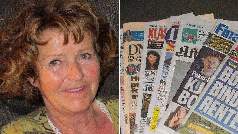 Bilde av Anne-Elisabeth Hagen og aviser i to ulike bilder satt sammen til ett.