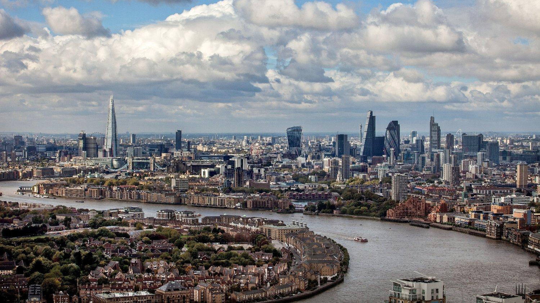 London, Storbritannia 20151014. London City Skyline fotografert fra One Canada Square.