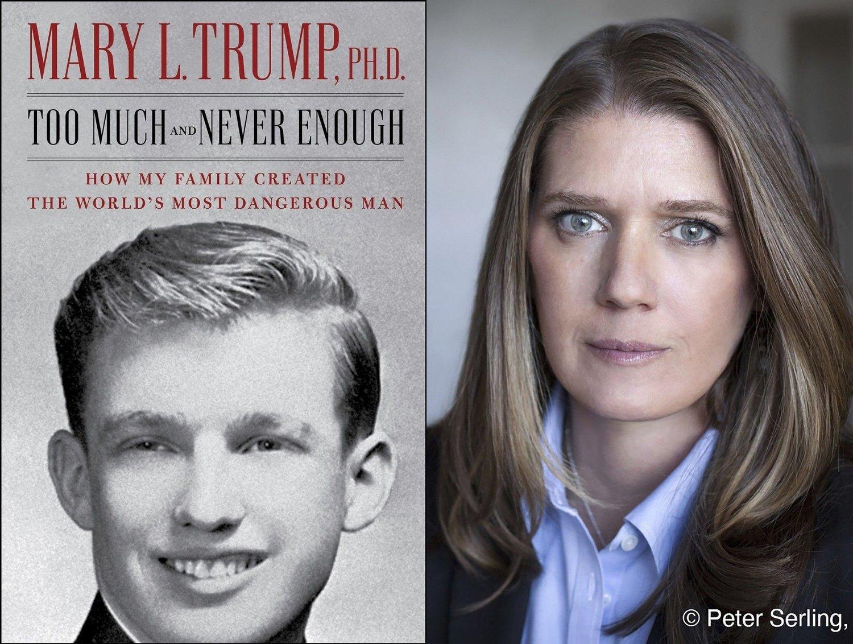 Donald Trumps niese Mary Trump og bokomslaget på hennes bok om sin egen familie.
