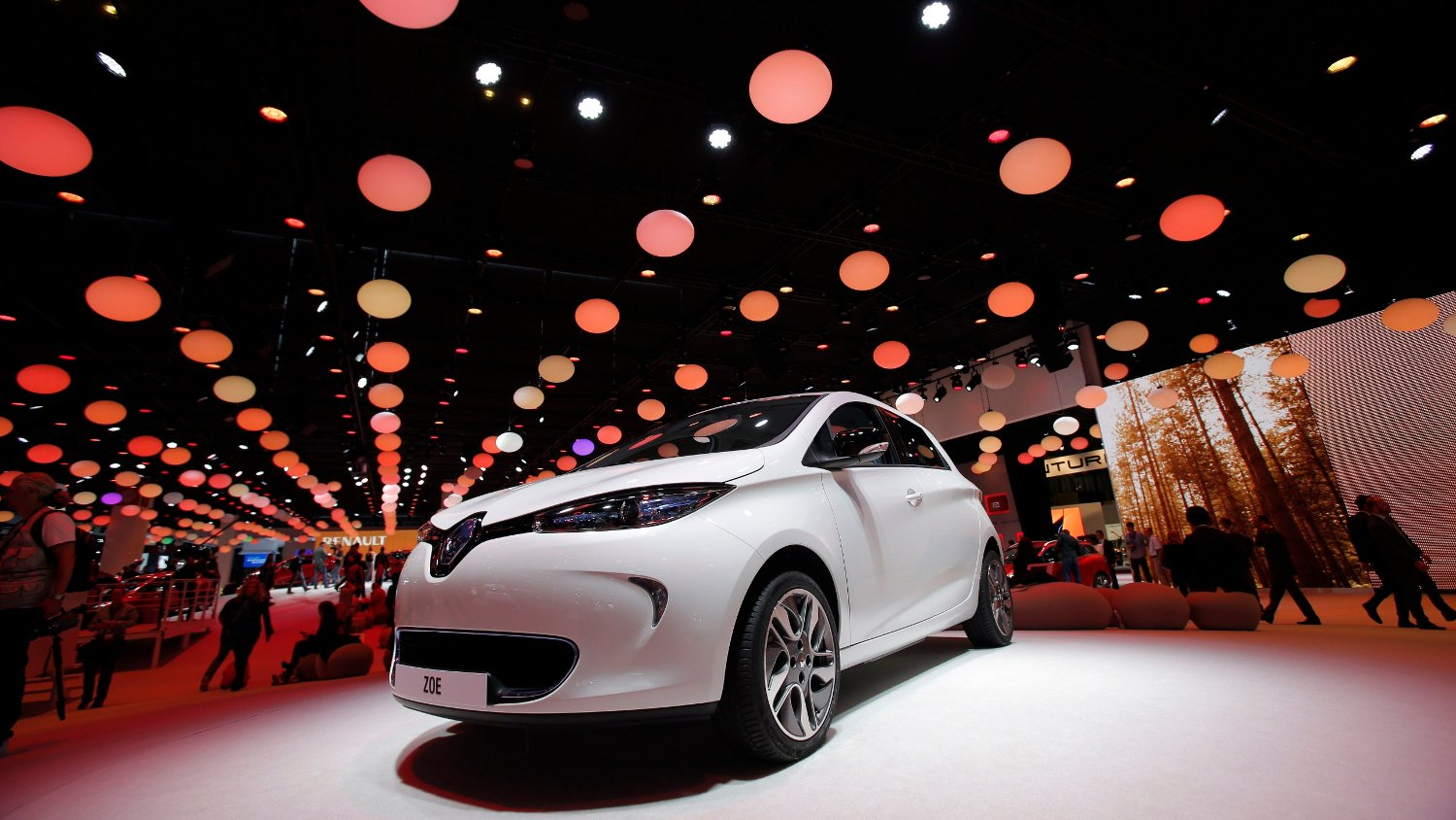 The new Renault Zoe is on display during the press day at the Paris Auto Show, France, Thursday, Sept. 27, 2012. The Paris Auto Show will open its gates to the public from Sept. 29 to Oct. 14.