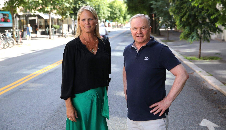FRYKTER KAOS: Ingvil Smiseth Tybring-Gjedde og Ulf-Arvid Mejlænder i Frogner Frp frykter trafikkforholdene på Frogner når sommerferien er over.