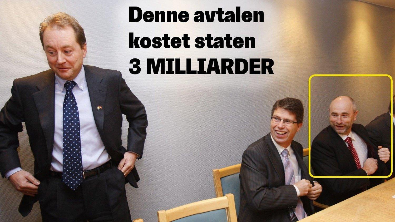 Bilde fra signeringen av kontrakten. Fra venstre Kjell Inge Røkke, Leif-Arne Langøy og Dag Terje Andersen.