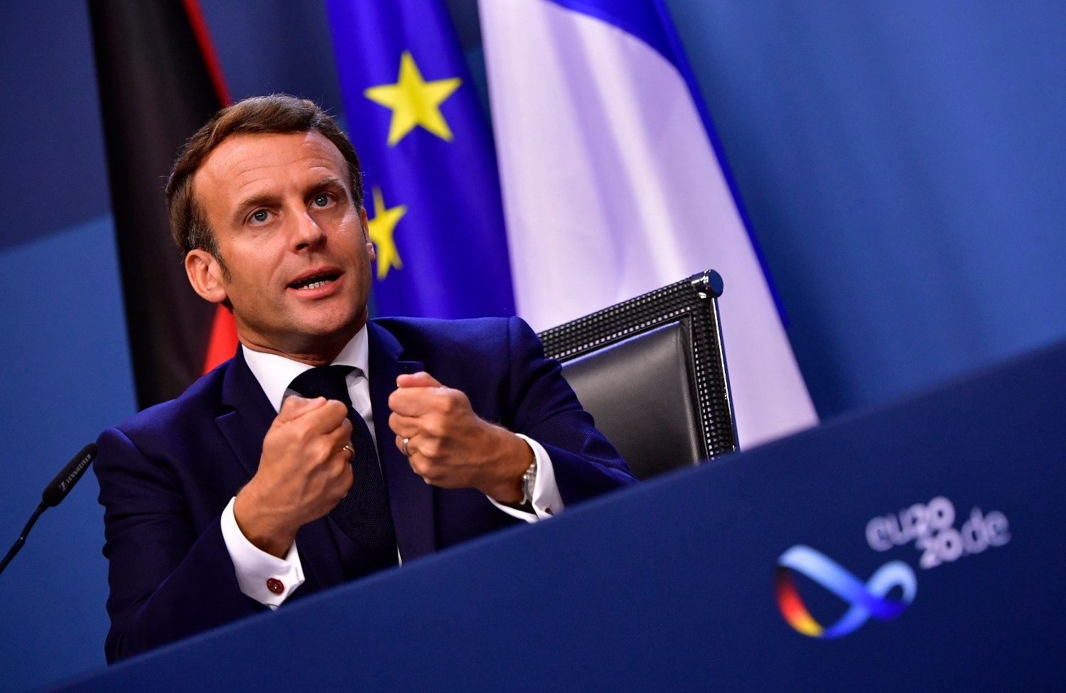 French President Emmanuel Macron speaks during a media conference at the end of an EU summit in Brussels, Tuesday, July 21, 2020. Weary European Union leaders finally clinched an unprecedented budget and coronavirus recovery fund early Tuesday, finding unity after four days and as many nights of fighting and wrangling over money and power in one of their longest summits ever.