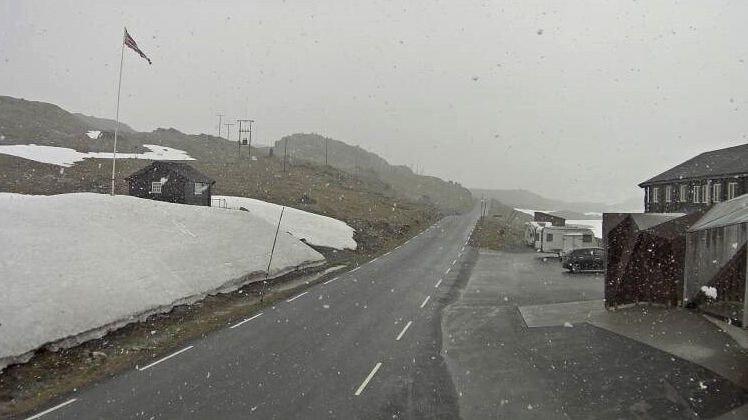 HER FALLER SNØEN: Snø i lufta på fylkesvei 55 ved Sognefjellshytta onsdag klokka 11.30. Hytta ligger 1400 meter over havet.