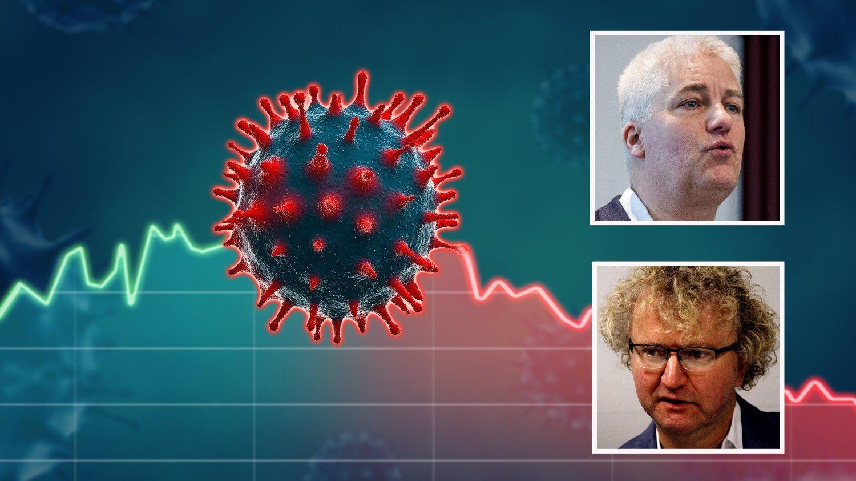 FRYKTET DET VERSTE: Økonomene Øystein Dørum og Jan Ludvig Andreassen spådde at koronaviruset ville gi det verste tilbakeslaget i norsk økonomi siden krigsårene.