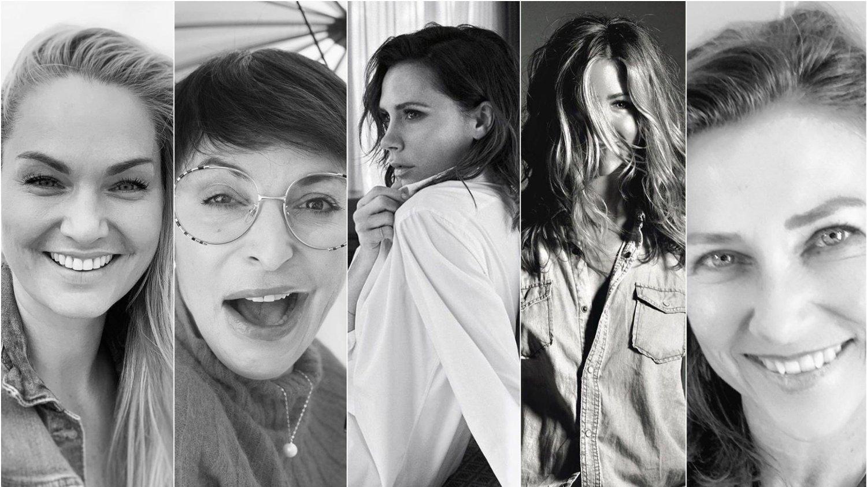 TAR UTFORDRINGEN: Marna Haugen, Lisa Tønne, Victoria Beckham, Märtha Louise og Jennifer Aniston er blant flere kjendiser som har kastet seg på utfordringen som herjer i sosiale medier.