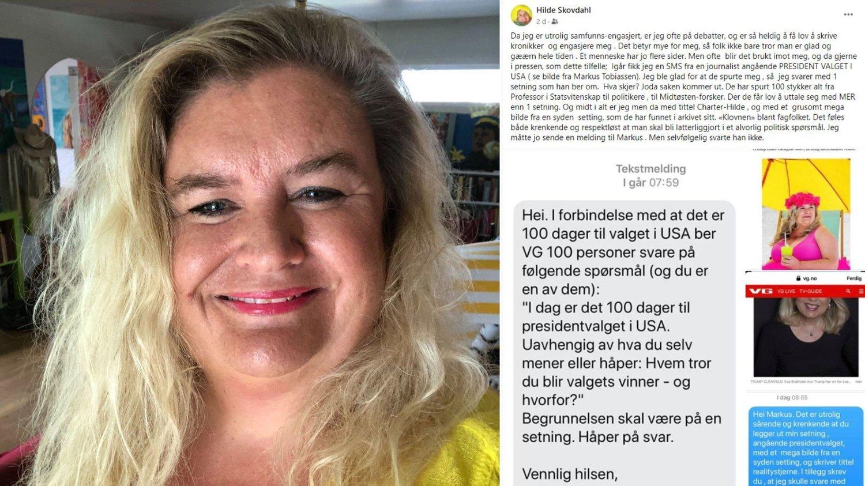 DÅRLIG BEHANDLET: Hilde Skovdahl føler seg av nedlatende fremstilt og dårlig behandlet av Norges største avis.