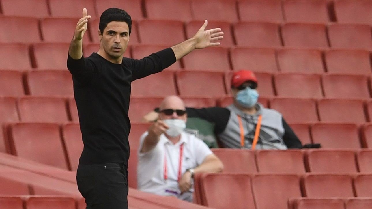 Arsenal's Spanish head coach Mikel Arteta reacts during the English Premier League football match between Arsenal and Watford at the Emirates Stadium in London on July 26, 2020. / RESTRICTED TO EDITORIAL USE. No use with unauthorized audio, video, data, fixture lists, club/league logos or 'live' services. Online in-match use limited to 120 images. An additional 40 images may be used in extra time. No video emulation. Social media in-match use limited to 120 images. An additional 40 images may be used in extra time. No use in betting publications, games or single club/league/player publications. /
