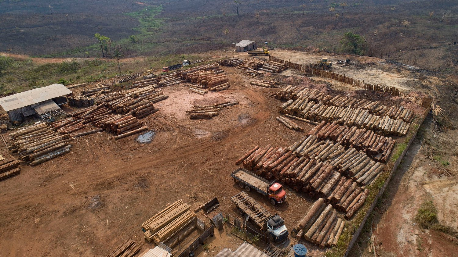 Brazil Amazon Deforestation FILE - In this Sept. 2, 2019 file photo, logs are stacked at a lumber mill surrounded by recently charred and deforested fields near Porto Velho, Rondonia state, Brazil. Dozens of Brazilian corporations are calling for a crackdown on illegal logging in the Amazon rainforest, expressing their concerns in a letter Tuesday, July 7, 2020, to the vice president, who heads the government's council on that region.
