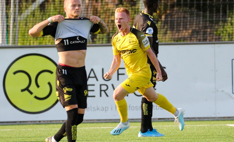 Raufoss 20190825. Raufoss' Kristoffer Nessø feirer etter sin scoring under kampen mellom førstedivisjonslagene Raufoss og Start på Nammo Stadion på Raufoss.
