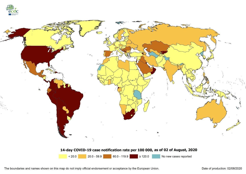 SMITTEKARTET: Dette kartet viser hvor i verden 14-dagers insidensen er høyest i verden per 2. august. Mørk rød betyr over 120 smittetilfeller per 100.000 innbyggere i den aktuelle perioden. Kartet er hentet fra det europeiske smittevernbyrået ECDC.