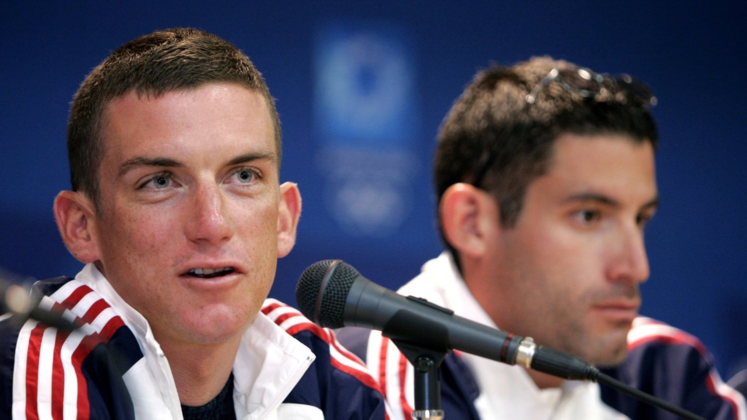 Members of the U.S. men's Olympic Road Cycling Tyler Hamilton, left, and George Hincapie appear before the media at news conference in Athens, Greece Thursday Aug. 12, 2004.