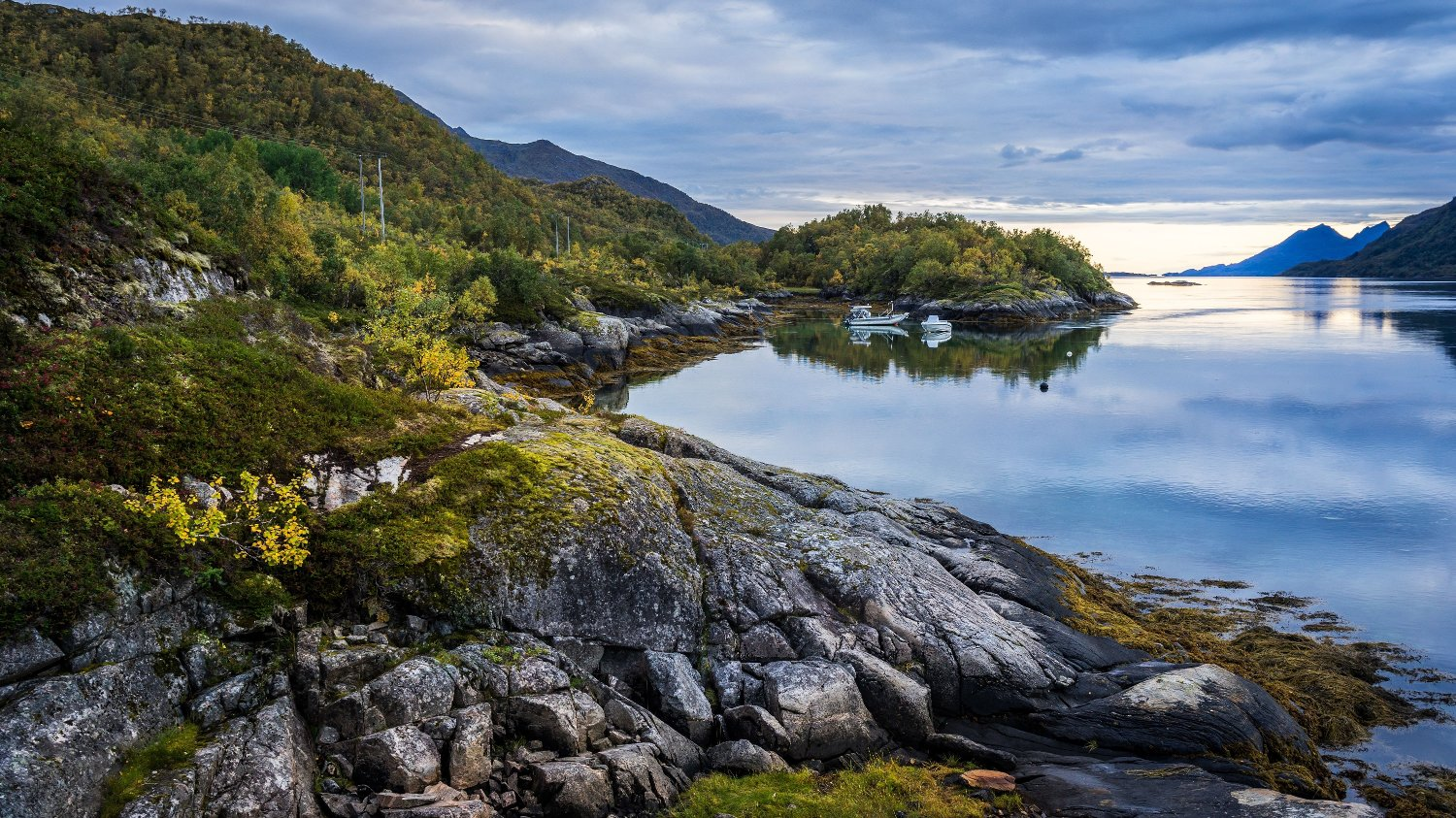 Landscape in norwegian fiord with sea and mountains, Lodingen, Norway