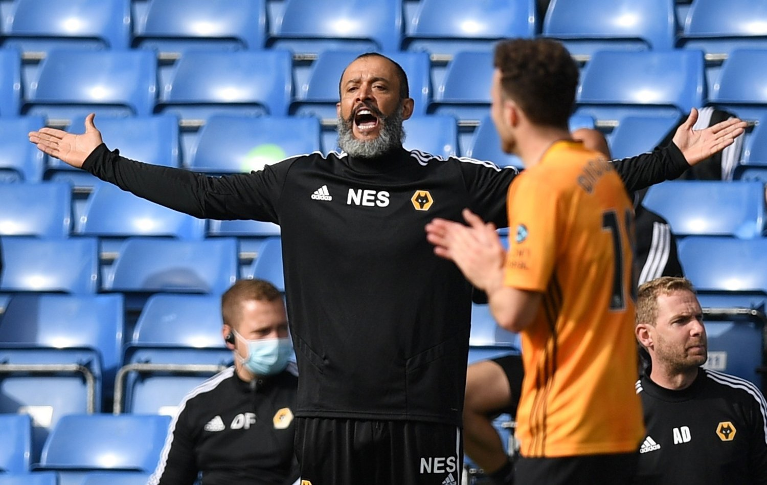 Soccer Football - Premier League - Chelsea v Wolverhampton Wanderers - Stamford Bridge, London, Britain - July 26, 2020 Wolverhampton Wanderers manager Nuno Espirito Santo reacts, as play resumes behind closed doors following the outbreak of the coronavirus disease Pool via REUTERS/Daniel Leal-Olivas EDITORIAL USE ONLY. No use with unauthorized audio, video, data, fixture lists, club/league logos or 'live' services. Online in-match use limited to 75 images, no video emulation. No use in betting, games or single club/league/player publications. Please contact your account representative for further details.