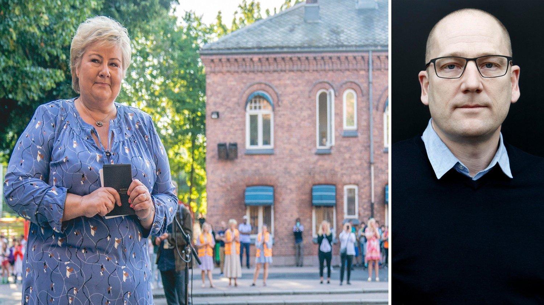 Statsminister Erna Solberg sa det er trygt å gå på skolen, under sin tale til elever på Lakkegata skole i Oslo mandag. Leder Steffen Handal i Utdanningsforbundet er ikke enig.